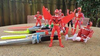 10 anh em siêu nhân đỏ biến hình thanh kiếm đánh khủng long đồ chơi trẻ em toy for kids