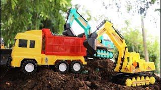 รถเทลเลอร์บรรทุกรถแม็คโคร ขุดลูกแก้วมหัศจรรย์ รถดั้มบรรทุกลูกแก้ว รถของเล่นก่อสร้าง