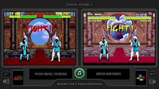 Mortal Kombat II (Sega Genesis vs Snes) Side by Side Comparison