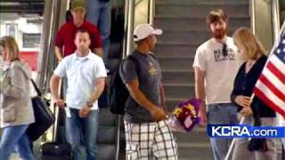 Wounded Veteran Greeted At Airport