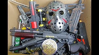 Toy Guns in Big Box - Pistols - Rifles & Jason Mask - Box of Full Weapons!