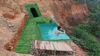 Amazing ! Dig to build underground house and infinity swimming pool on the cliff
