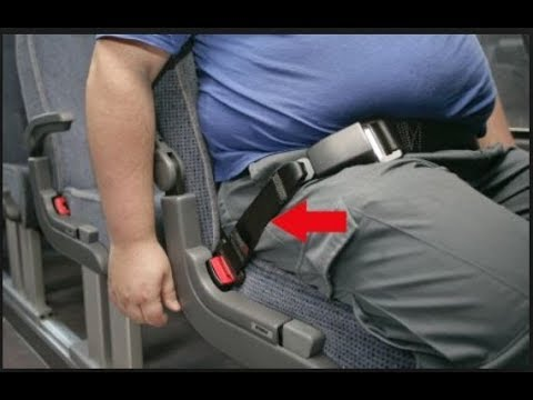 Obese Passenger in Economy / Coach requiring a Belt Extender for Air Travel - an educational video