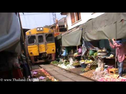 Railway market Samut Songkhram, Mae Klong Market, Thailand. Part 4.