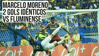 Marcelo Moreno vs Fluminense - 2 gols de voleio idênticos.