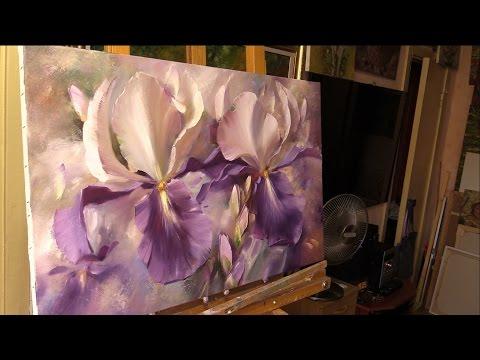 Небольшой урок живописи маслом. Ирисы. Alla Prima Oil Painting