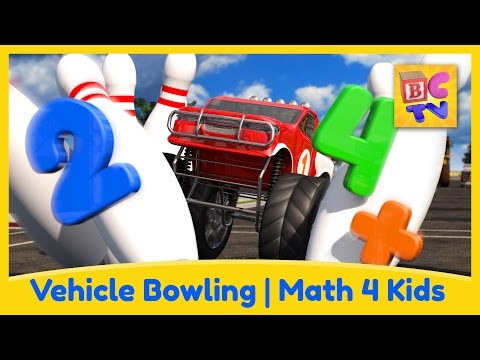 Math for Kids - Vehicle Bowling | Crash Course Math Ep 3 by Brain Candy TV