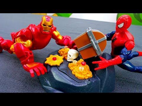 Железный Человек  на острове сокровищ. Видео для детей.