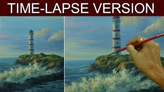 Time-lapse Version | Lighthouse and Crashing Waves | Acrylic Painting by JM Lisondra