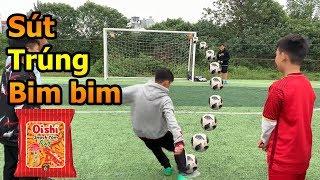 Thử Thách Bóng Đá Mùa Asian Cup 2019 Bùi Tiến Dũng Nhí VS Quang Hải nhí sút phạt trúng bim bim