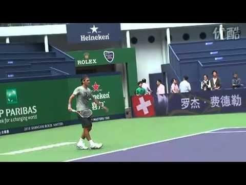 ロジャー フェデラー First Practice on Center Court in Shanghai ATP 2010 [2010-10-08]