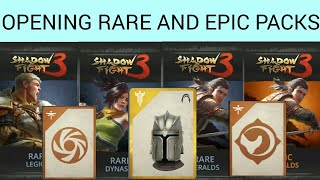 Shadow fight 3 opening Rare and epic packs I got legendary helm from rare pack| legendary card!!!