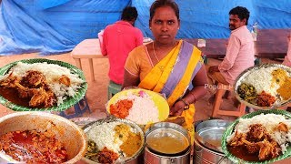 Unlimited Non Veg Meals and Biryani | Cheapest Roadside  Meals |  #Streetfood Popula Pette