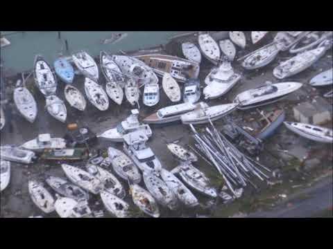 Schade orkaan Irma op SInt Maarten vanuit helikopter Zr. Ms. Zeeland