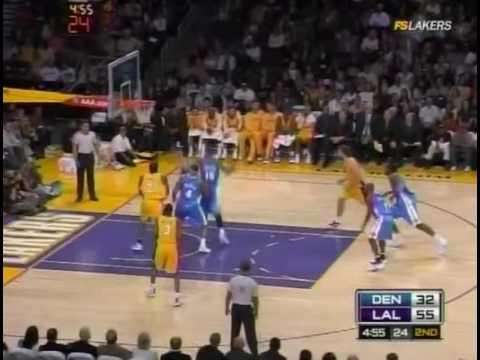 lakers vs nuggets 11/21/08.. kobe bryant on fire..schools dahntay jones Video