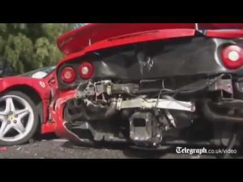 Ferraris, Mercedes and a Lamborghini involved in a $4M supercar pile up..OUCH!!!