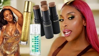 Fenty BODY LAVA?! Milk HydroGrip Primer...? Trying New Makeup! | Jackie Aina
