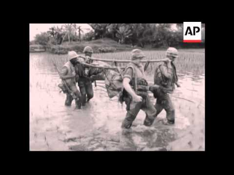 CAN908 UNITED STATES MARINES SWEEP THROUGH VIET CONG INFESTED AREA.