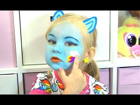 Алиса РЕЙНБОУ ДЭШ макияж аквагрим и играем RAINBOW DASH face painting for kids entertainment