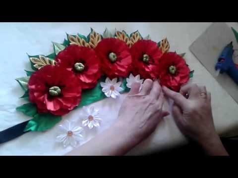 Цветы из лент на голову своими руками