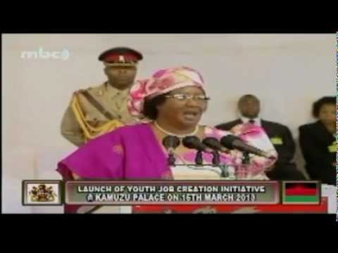 Malawi President Joyce Banda - Launch of Youth Job Creation Initiative, 15 March 2013