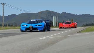 2025 Ferrari Piero T2 LM Stradale LMP1 vs Bugatti Vision GT at Highlands