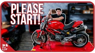Will she start?   [Wrecked Bike Rebuild Ep. 01 - Ducati Monster 1100]