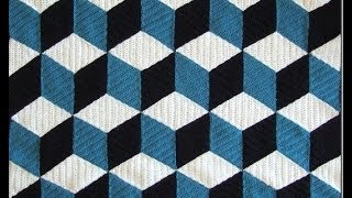 How to crochet 3D blanket afghan or rug free pattern tutorial seminario del modelo libre l