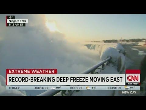 Frozen Niagara Falls creates huge mist cloud