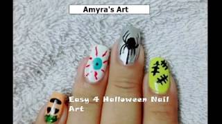 4 EASY HALLOWEEN NAIL ART DESIGNS : Without Tools Manicure || Amyra Khan