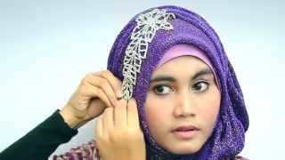 Hijab Tutorial 2013 With Glitter Shawl for Party