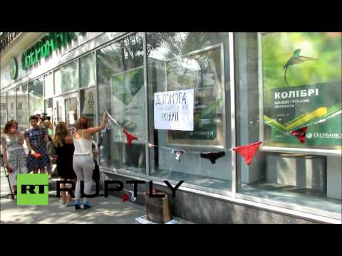 Ukraine: Panty & bra flashmob protests Russia