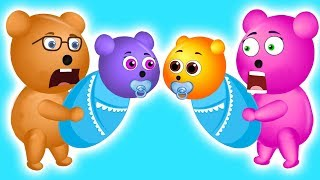 Mega Gummy Bear Mixed Up Their Baby Strollers | The Finger Family Cartoon for Children