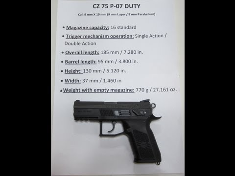CZ 75 P-07 Duty. Cal. 9 mm Luger Compact Pistol: Complete Overview. Field Strip. and Review