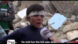 A child hero from Aleppo, 40 of his family were killed by a missile