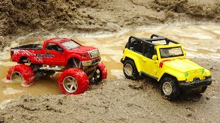 Racing car, jeep, excavators across the river - Toys for kids H847M