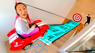 I BUILT A HUGE SLIDE IN HIS HOUSE!!