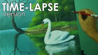 Time-lapse Acrylic Painting Demo- The Swan in the Lake by JM Lisondra