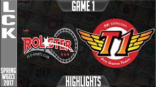 KT Rolster vs SKT  Highlights Game 1 - LCK Week 6 Day 3 Spring 2017 - KT vs SKT G1