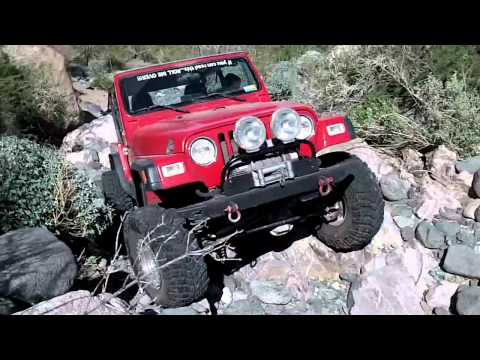 Rock crawler red Jeep Wrangler Woodcutter's Pass Jan 21, 2012