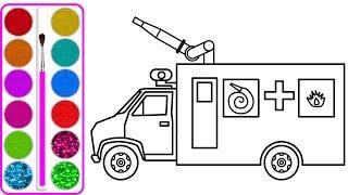 Dạy bé vẽ và tô màu xe cứu hỏa | Dạy bé vẽ | Dạy bé tô màu | How to draw Fire truck for kid