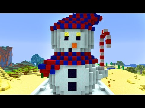 Minecraft Pocket Edition REALMS! 'Build a Snowman' Challenge! (MCPE 1.0 Realms)