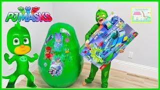 Gekko's Huge PJ Masks Surprise Egg Toy Opening | New Superhero PJ Masks Toy Review for Kids Video