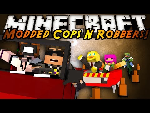Minecraft Mini-Game : MODDED COPS N ROBBERS! CARS!