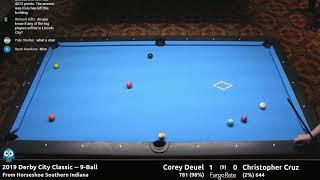 Corey Deuel vs Christopher Cruz - 9-Ball - 2019 Derby City Classic