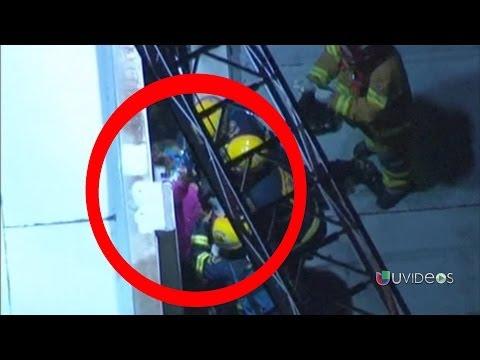 Impresionantes imágenes del rescate de una mujer que quedó atrapada entre dos edificios -- Online