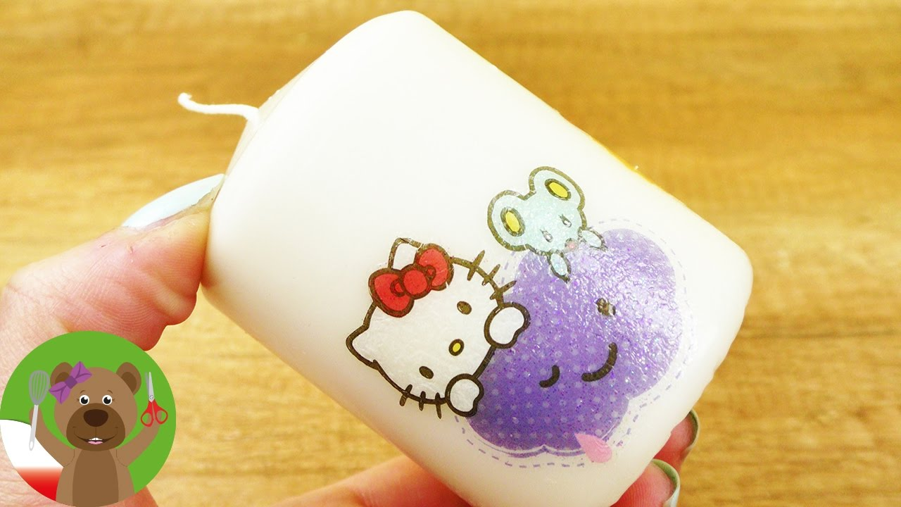 Motyw Hello Kitty | świeczka ozdobiona tatuażami Hello Kitty | świetny pomysł na dekor