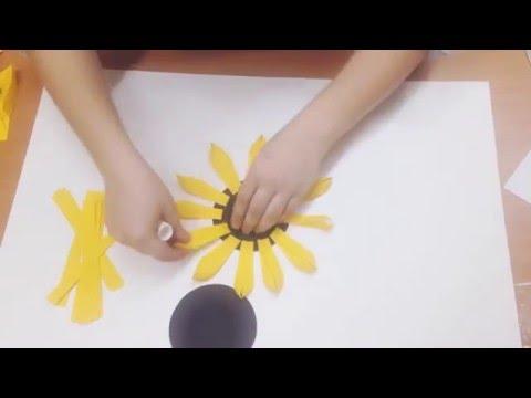 Как сделать подсолнух из гофрированной бумаги фото