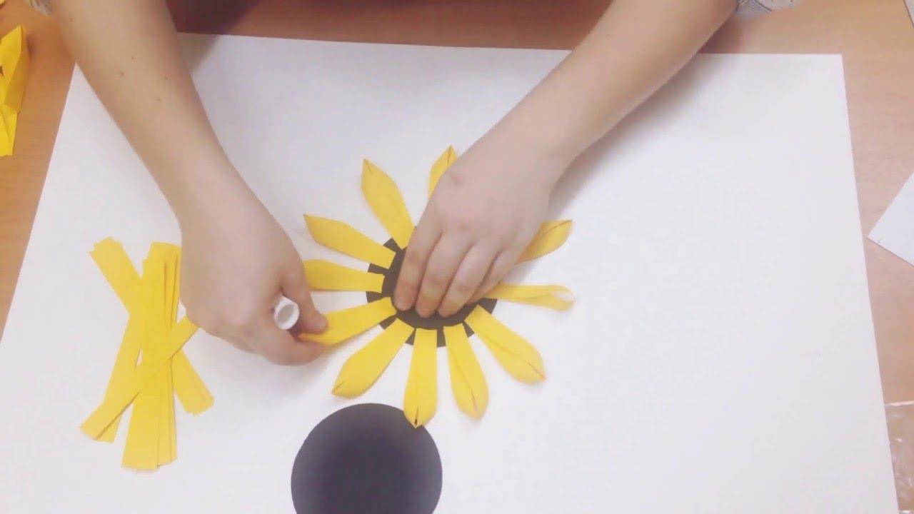 Как руками сделать подсолнуха из бумаги