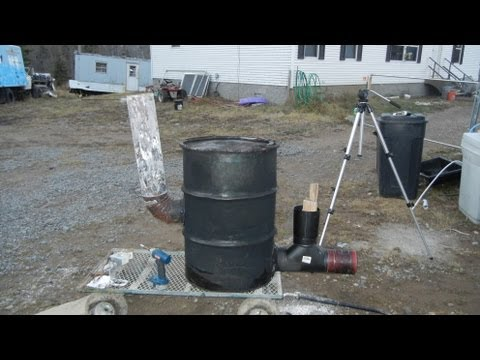 "Building 6"" stove pipe rocket stove heater 55 gallon drum version part 1 of 2"